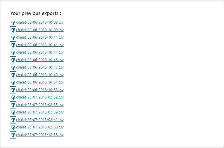 La liste des exports