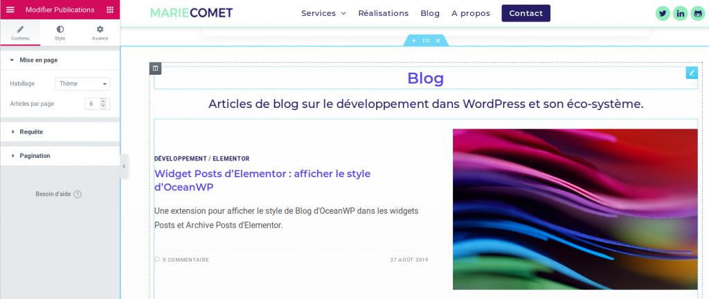Capture d'écran du widget Publications