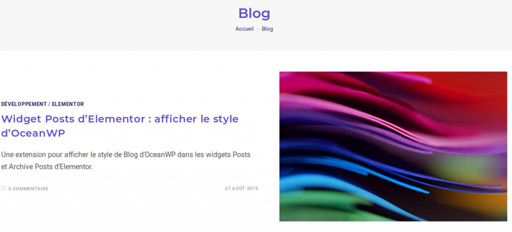 Capture d'écran du blog