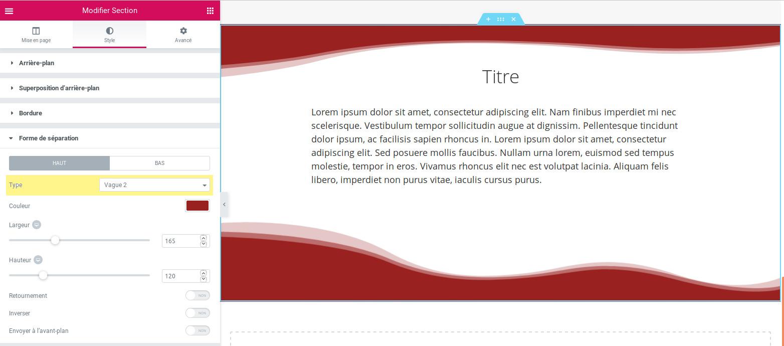 Capture d'écran du réglage Elementor