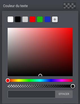 capture d'écran du sélecteur de couleurs des widgets