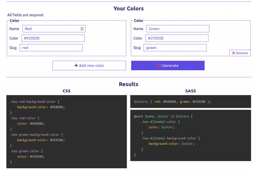 Capture d'écran de l'outil de génération de palettes de couleurs