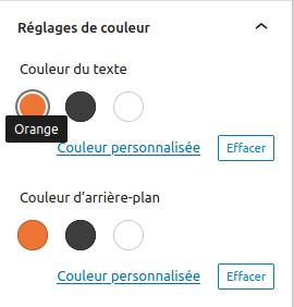 Capture d'écran du sélecteur de couleur de l'éditeur