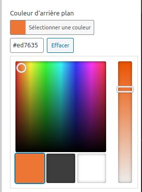 Capture d'écran du sélecteur de couleur d'ACF